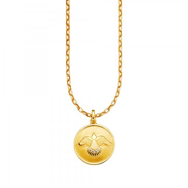 cai Anhänger mit Kette 925/- Sterling Silber vergoldet Zirkonia Taube