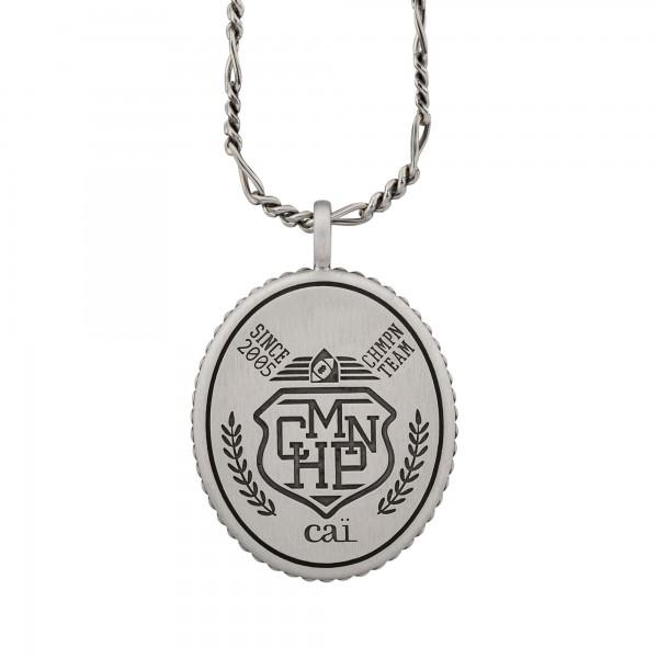 cai Anhänger mit Kette 925/- Silber satiniert oxidiert Champion Wappen