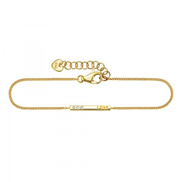 cai Armband 925/- Sterling Silber vergoldet Zirkonia Love