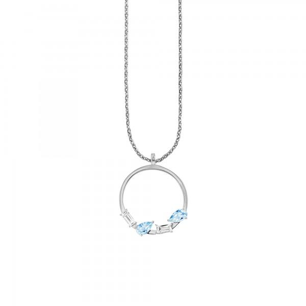 cai Halskette 925/- Sterling Silber rhodiniert Weiß- und Blautopas