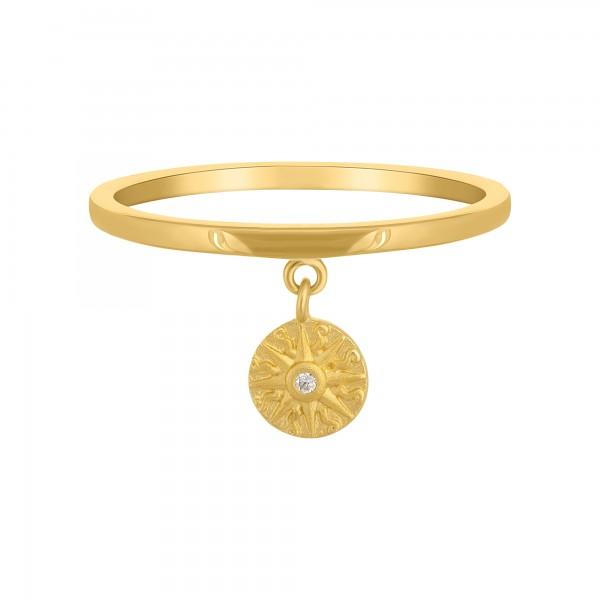 cai Ring 925 Silber Anhänger Münze vergoldet Sonne Zirkonia