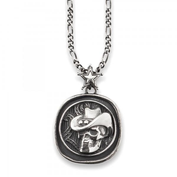 cai Anhänger mit Kette 925/- Sterling Silber oxidiert Münze