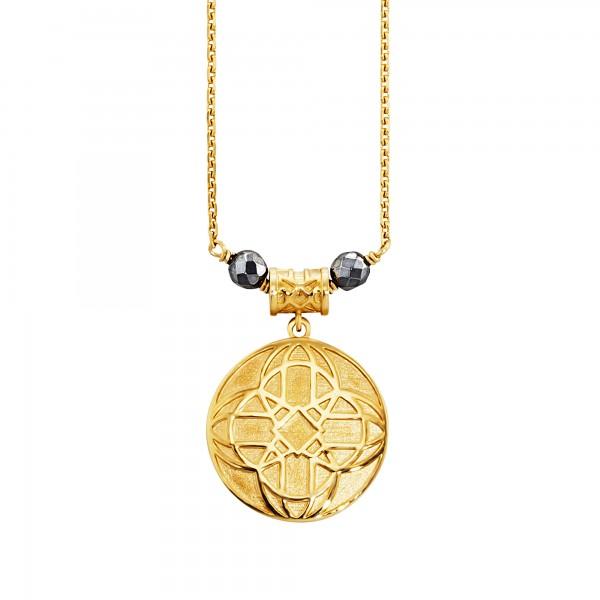 cai Anhänger mit Kette 925/- Sterling Silber vergoldet Hämatit