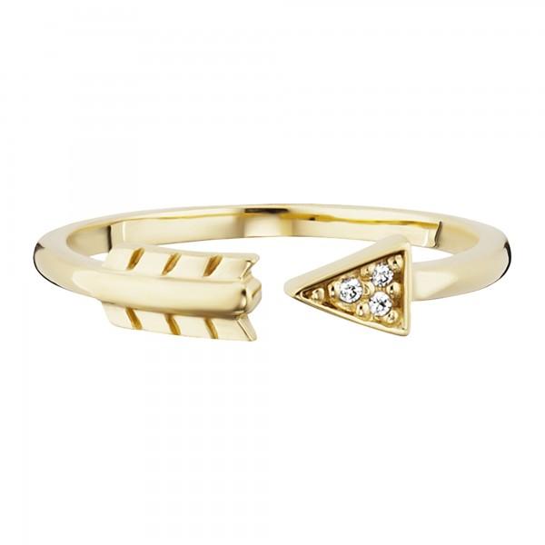 cai Ring 925/- Sterling Silber vergoldet Zirkonia Pfeil