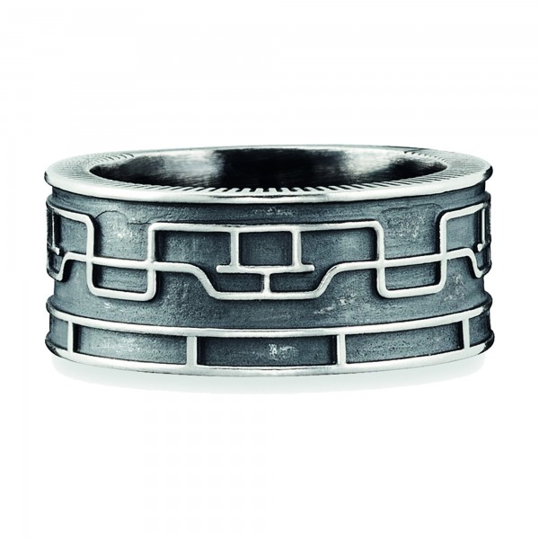 cai Ring 925/- Sterling Silber oxidiert Linien Japan