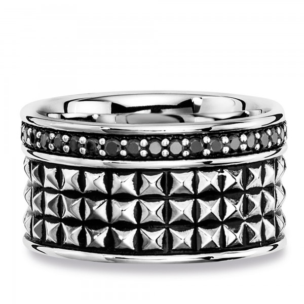cai Ring 925/- Sterling Silber Spinell schwarz