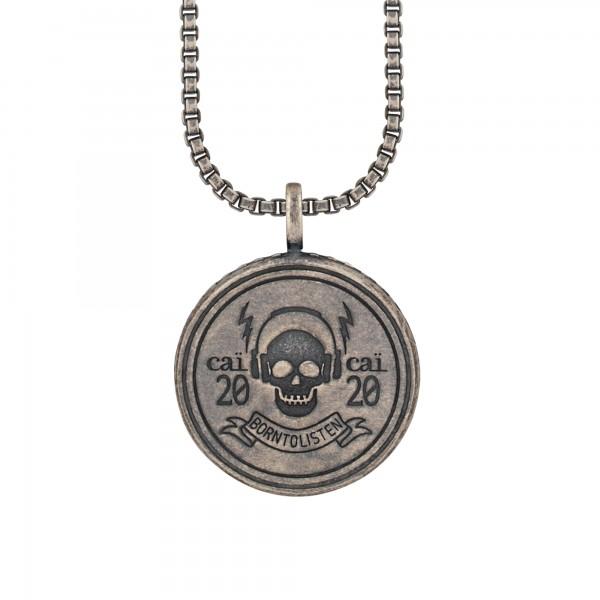 cai Anhänger mit Kette 925/- Silber matt oxidiert Rock Music Skull Wappen