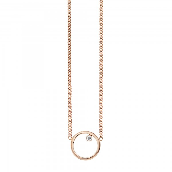 cai Collier 925/- Sterling Silber rotvergoldet Zirkonia Kreis