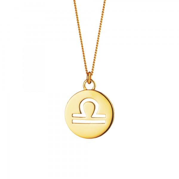 cai Halskette Waage Sternzeichen 925/- Sterling Silber vergoldet