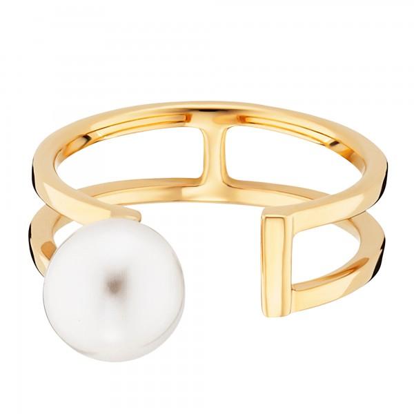 cai Ring 925/- Sterling Silber gelb vergoldet Perle
