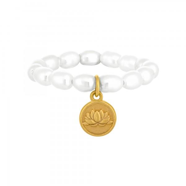 cai Ring Perlen 925 Silber Münze vergoldet Lotusblüte
