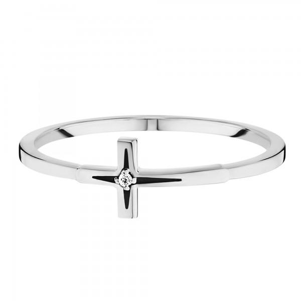 cai Ring 925/- Silber rhodiniert Zirkonia Kreuz
