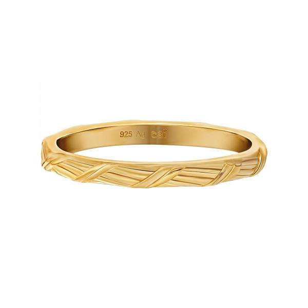 cai Ring 925 Silber vergoldet Flechtoptik Stacking