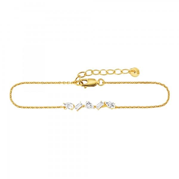 cai 925/- Sterling Silber vergoldet Weißtopas Armband
