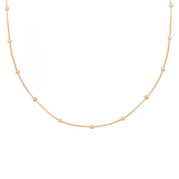 cai Collier 925/- Sterling Silber Schlangenkette vierseitig diamantiert mit Kugeln vergoldet