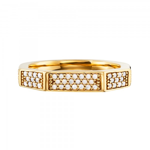 cai Ring 925/- Sterling Silber vergoldet Hexagon Kristalle