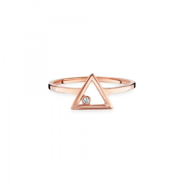 cai 925/- Sterling Silber rotvergoldet Zirkonia Dreieck Ring