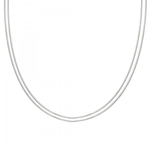 cai Collier 925/- Sterling Silber Venezianer Kette rhodiniert zweireihig
