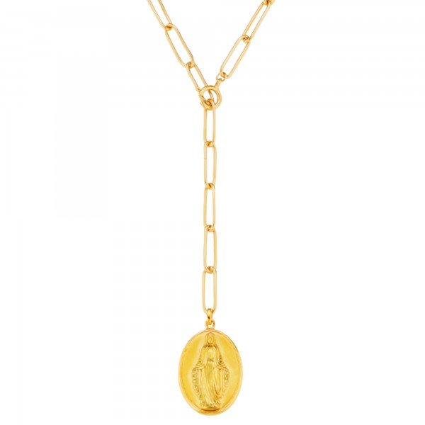 cai 925/- Sterling Silber vergoldet Madonna Anhänger mit Kette