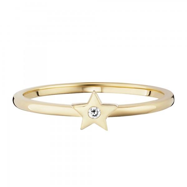cai Ring 925/- Sterling Silber vergoldet Zirkonia Stern
