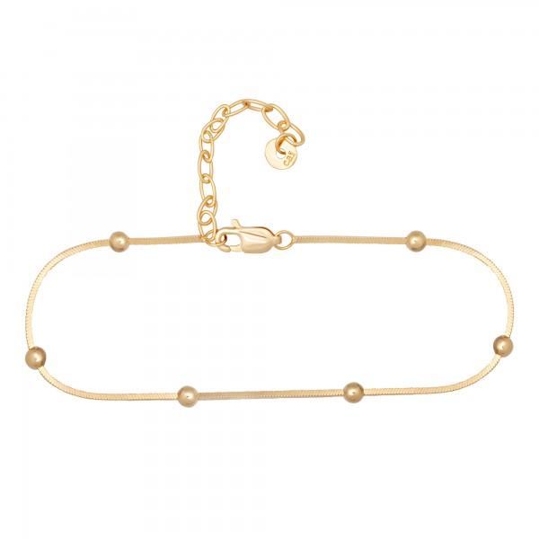cai Fußkette 925/- Sterling Silber vergoldet Schlangenkette vierseitig diamantiert mit Kugeln