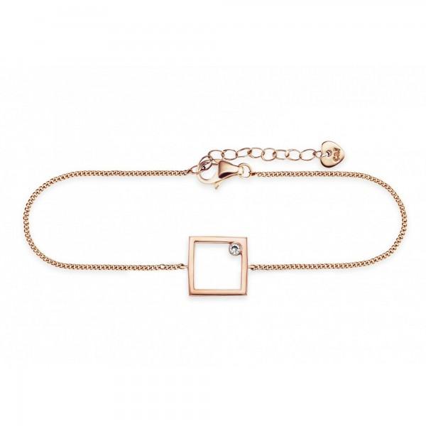 cai Armband 925/- Sterling Silber rotvergoldet Rechteck Zirkonia