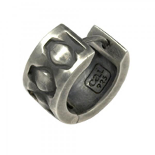 cai Single Creole 925/-Sterling Silber rhodiniert matt oxidiert