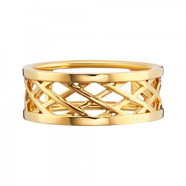 cai Ring 925/- Silber vergoldet Gitterstruktur
