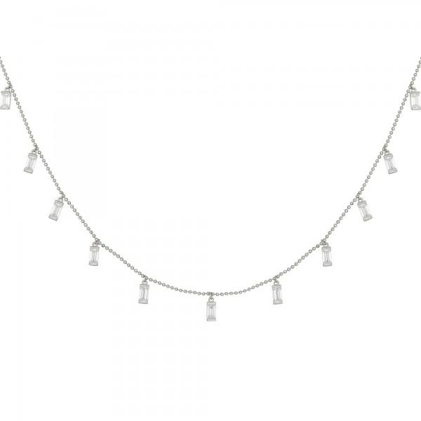 cai Collier 925/- Sterling Silber rhodiniert Anhänger Zirkonia Baguette