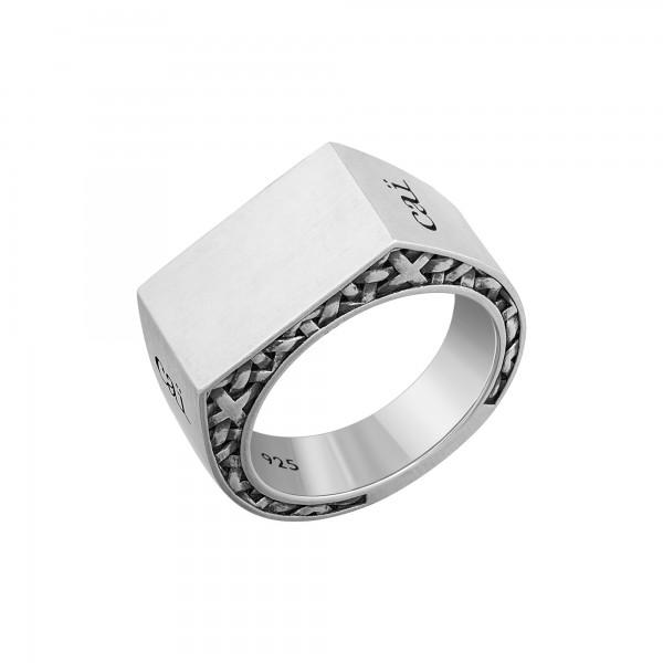 cai Ring 925/- Sterling Silber Siegelring mattiiert oxidiert Flechtoptik