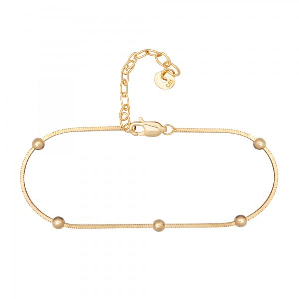 cai Armband 925/- Sterling Silber vergoldet Schlangenkette vierseitig diamantiert mit Kugeln