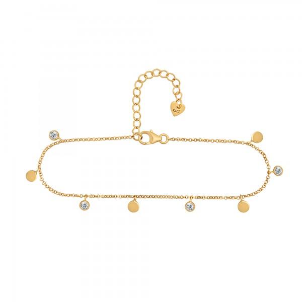 cai Fußkette 925/- Sterling Silber vergoldet Anhänger Plättchen Zirkonia