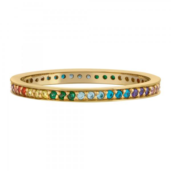 cai Ring 925/- Sterling Silber vergoldet Zirkonia Rainbow