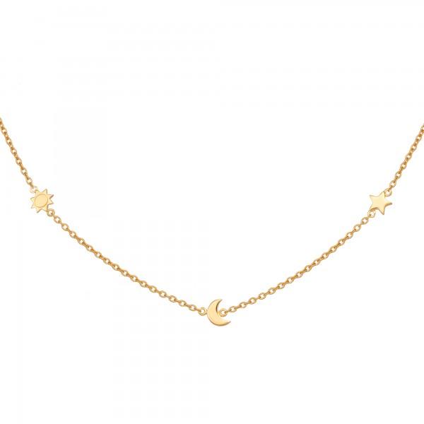 cai Anhänger mit Kette 925/- Sterling Silber vergoldet Sonne - Mond - Stern