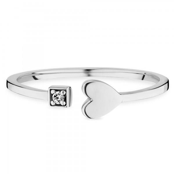 cai Ring 925/- Sterling Silber rhodiniert Zirkonia Herz