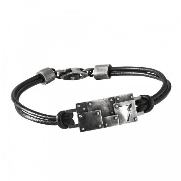 cai Armband 925/- Sterling Silber Lederband schwarz Bullhead