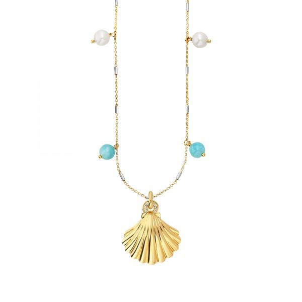 cai 925/- Sterling Silber vergoldet Topas Perle Collier
