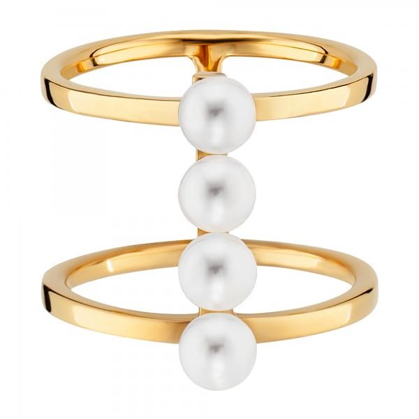 cai 925/- Sterling Silber gelb vergoldet Perlen Ring