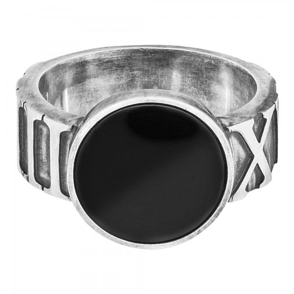 cai Ring 925/- Sterling Silber matt-oxidiert mit Onyx