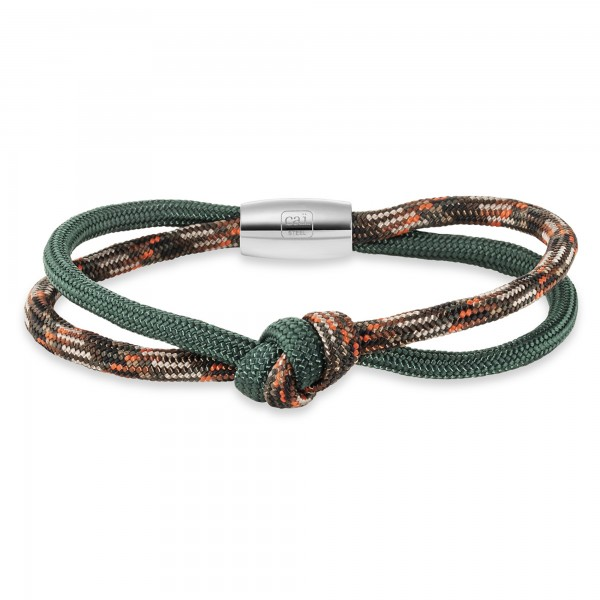 cai Armband Edelstahl Nylon-Paracord dunkelgrün Camoflage 21cm