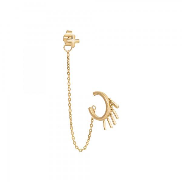 cai Single Ohrring 925 Silber vergoldet mit Ear Cuff und Anhängern