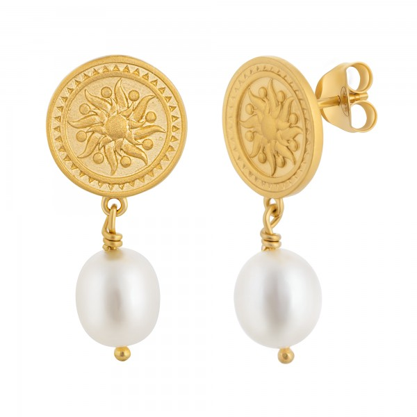 cai Ohrstecker 925 Silber vergoldet Münze Sonne Perle