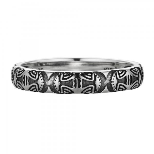 cai Ring 925/- Sterling Silber oxidiert Maske Amerika