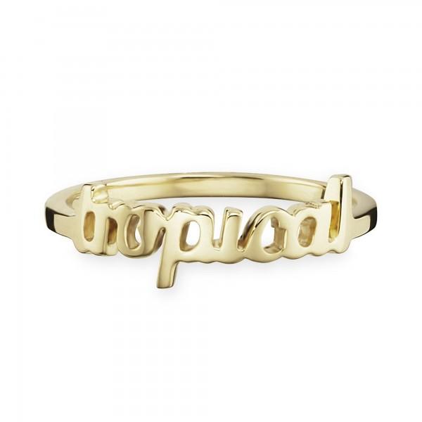 cai Ring 925/- Silber vergoldet Schriftzug tropical
