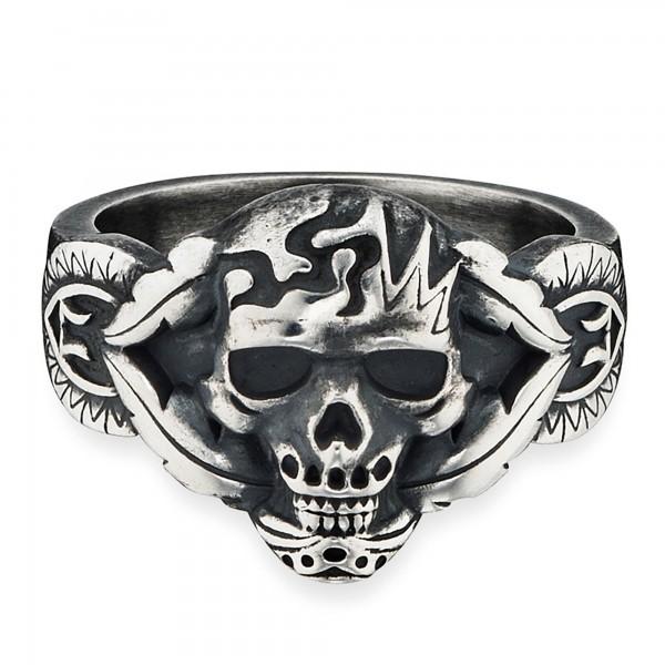 cai Ring 925/- Sterling Silber matt oxidiert Totenkopf
