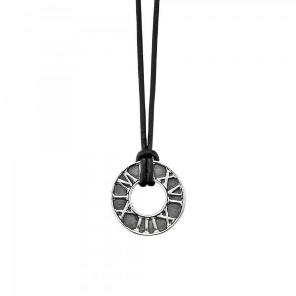 cai Anhänger mit Kette 925/- Sterling Silber matt-oxidiert Leder
