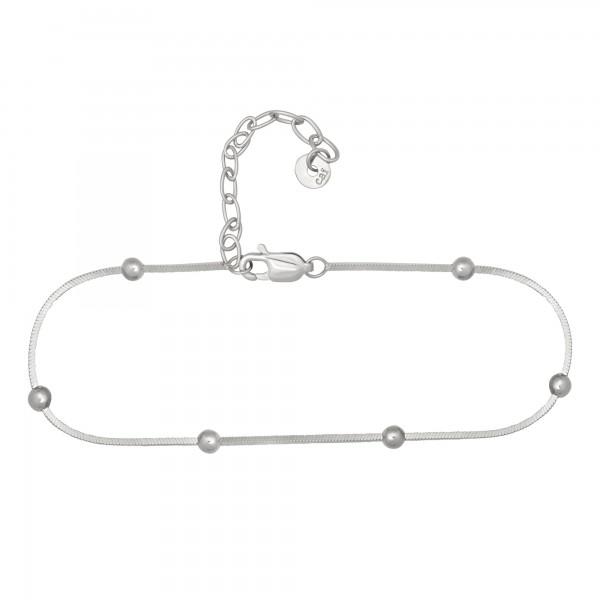cai Fußkette 925/- Sterling Silber rhodiniert Schlangenkette vierseitig diamantiert mit Kugeln