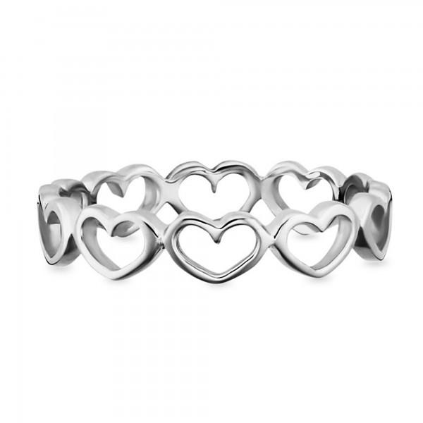 cai Ring 925/- Sterling Silber rhodiniert Herzen