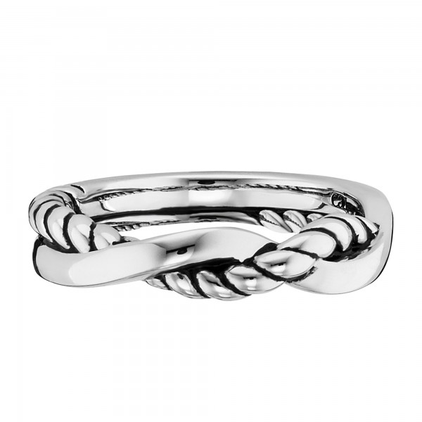 cai Ring 925/- Sterling Silber rhodiniert Seilstruktur
