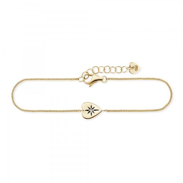 cai Armband 925/- Sterling Silber vergoldet Zirkonia Herz
